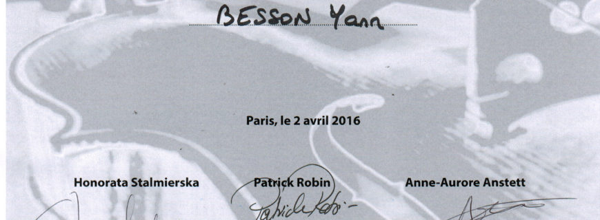 Concours international de lutherie 2016 : Certificat pour Yann Besson !