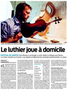 Le luthier joue à domicile (Sud-Ouest)